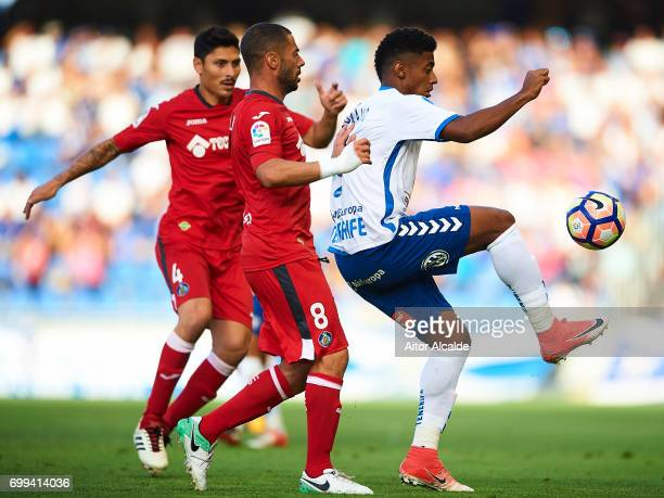 Anthony Lozano of CD Tenerife being followed by Mehdi Laceng of Getafe CF during La Liga 2 play off round between CD Tenerife and Getafe CF at...