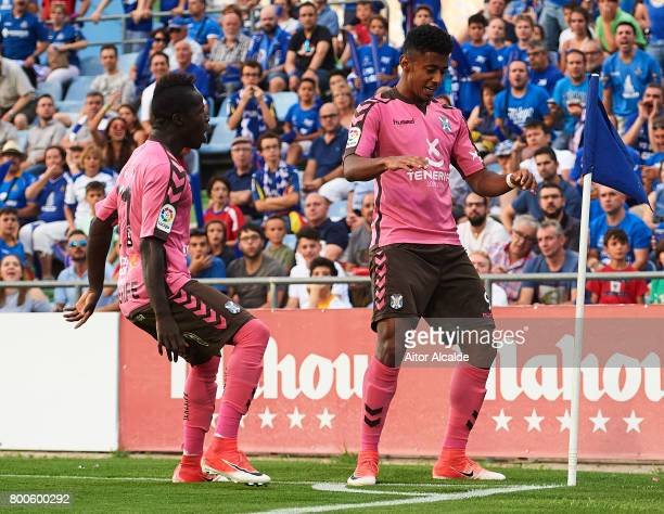 Anthony Lozano of CD Tenerife celebrates after scoring during La Liga 2 play off round between Getafe and CD Tenerife at Coliseum Alfonso Perez...