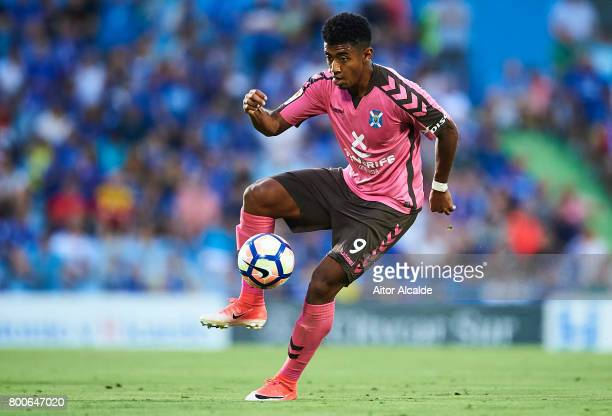 Anthony Lozano of CD Tenerife in action during La Liga 2 play off round between Getafe and CD Tenerife at Coliseum Alfonso Perez Stadium on June 24...