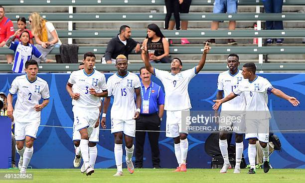 Anthony Lozano of Honduras celebrates giving his team the lead against Costa Rica on on October 4 2015 in Carson California during their CONCACAF...