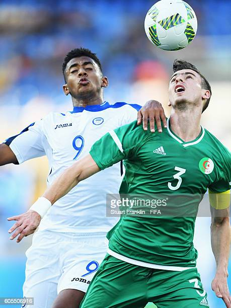 Anthony Lozano of Honduras challenges Ayoub Abellaoui of Algeria during the Olympic Men's Football match between Honduras and Algeria at Olympic...