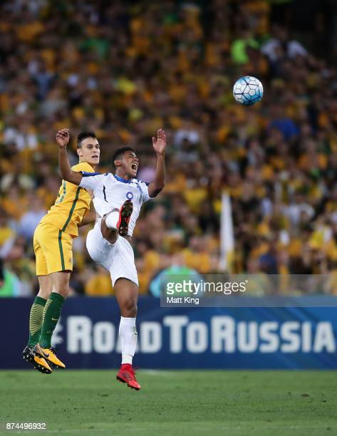 Anthony Lozano of Honduras is challenged by Trent Sainsbury of Australia during the 2018 FIFA World Cup Qualifiers Leg 2 match between the Australian...