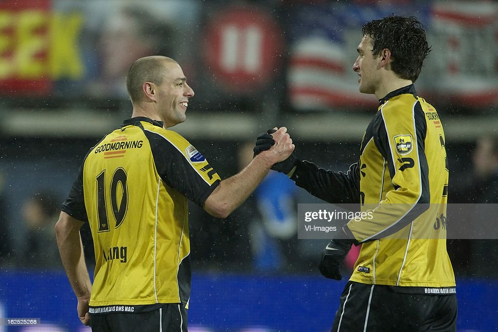 Anthony Lurling of NAC Breda, Eric Botteghin of NAC Breda during the Dutch Eredivisie Match between AZ Alkmaar and NAC Breda at the AFAS Stadium on february 24, 2013 in Alkmaar, The Netherlands