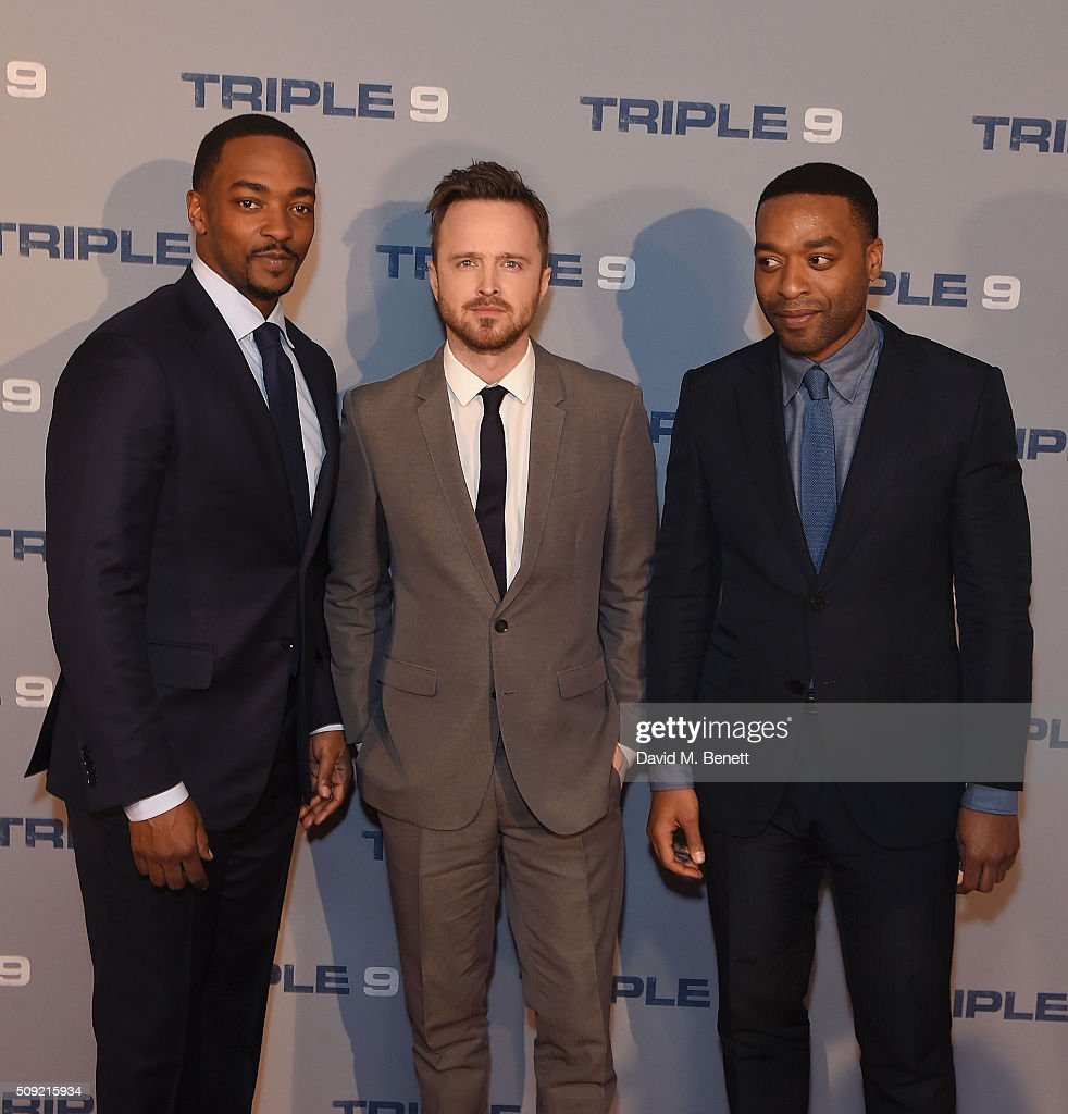 <a gi-track='captionPersonalityLinkClicked' href=/galleries/search?phrase=Anthony+Mackie&family=editorial&specificpeople=206212 ng-click='$event.stopPropagation()'>Anthony Mackie</a>, Aaron Paul, <a gi-track='captionPersonalityLinkClicked' href=/galleries/search?phrase=Chiwetel+Ejiofor&family=editorial&specificpeople=213998 ng-click='$event.stopPropagation()'>Chiwetel Ejiofor</a> attend a special screening of 'Triple 9' at The Ham Yard Hotel on February 9, 2016 in London, England.