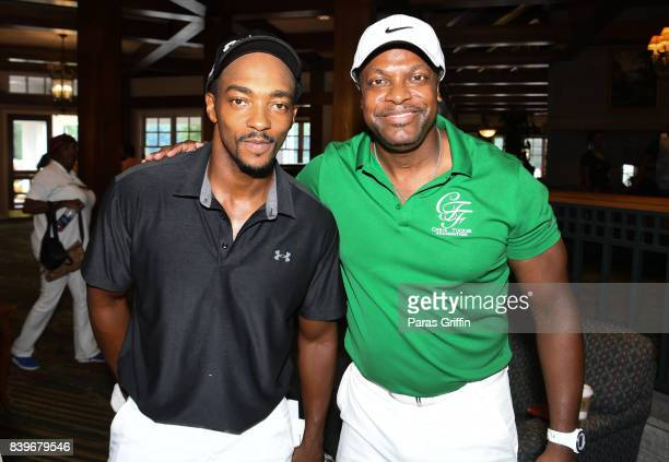 Anthony Mackie and Chris Tucker at Chris Tucker Foundation Celebrity Golf Tournament at Stone Mountain Golf Club on August 26 2017 in Stone Mountain...