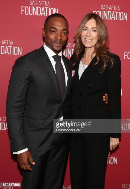 Anthony Mackie and Patron of the Artists Award recipient Kathryn Bigelow attend the SAGAFTRA Foundation Patron of the Artists Awards 2017 at the...