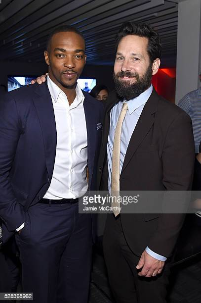 Anthony Mackie and Paul Rudd attend the after party for the screening of Marvel's 'Captain America Civil War' hosted by The Cinema Society with Audi...