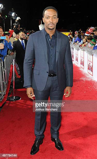 Anthony Mackie arrives at the premiere for Columbia Pictures' 'The Night Before' at The Theatre at The Ace Hotel on November 18 2015 in Los Angeles...