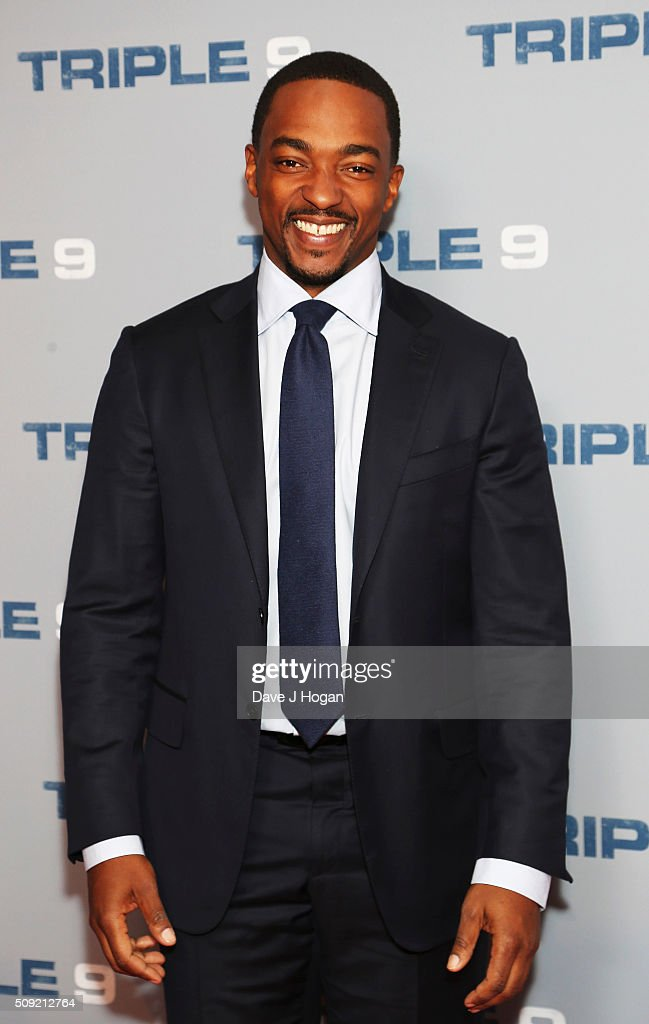 <a gi-track='captionPersonalityLinkClicked' href=/galleries/search?phrase=Anthony+Mackie&family=editorial&specificpeople=206212 ng-click='$event.stopPropagation()'>Anthony Mackie</a> attends a special screening of 'Triple 9' at Ham Yard Hotel on February 9, 2016 in London, England.