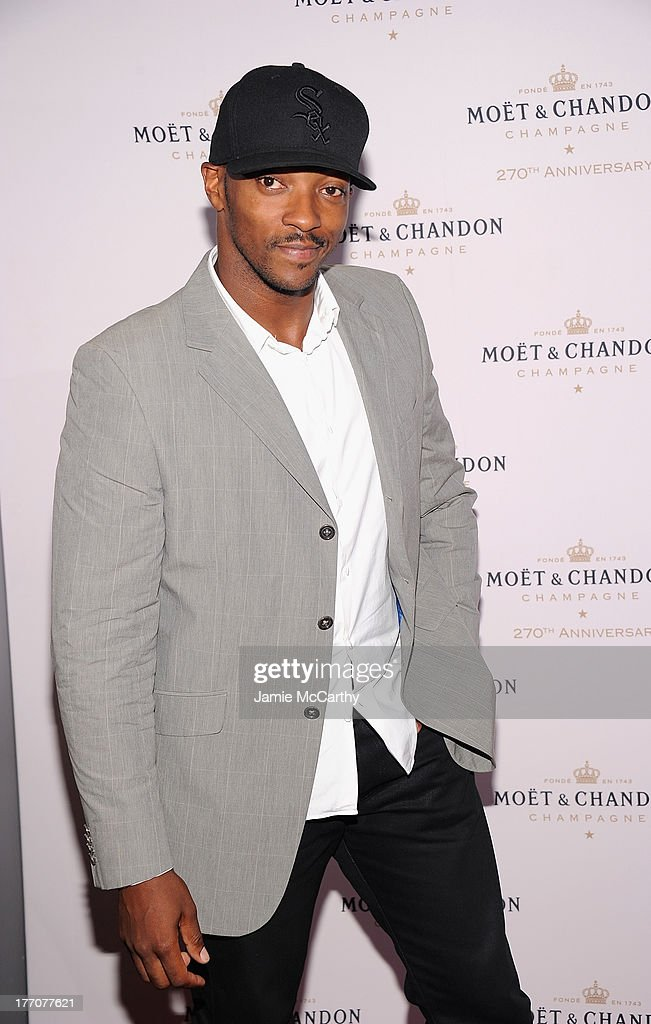 <a gi-track='captionPersonalityLinkClicked' href=/galleries/search?phrase=Anthony+Mackie&family=editorial&specificpeople=206212 ng-click='$event.stopPropagation()'>Anthony Mackie</a> attends the Moet & Chandon 270th Anniversary at Pier 59 Studios on August 20, 2013 in New York City.