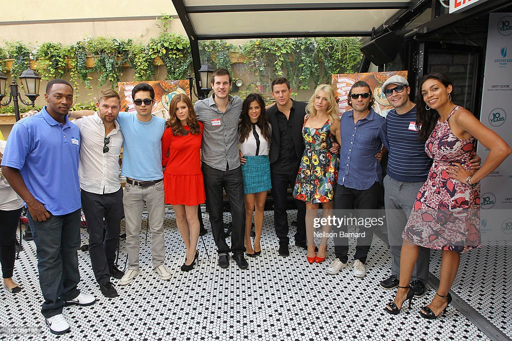 Anthony Mackie, Brian Geraghty, Max Minghella, Kate Mara, Jamie Linden, Jenna Dewan-Tatum, Channing Tatum, Ari Graynor, Oscar Isaac, Scott Porter, and Rosario Dawson attend '10 Years' brunch reunion event hosted by GREY GOOSE Vodka And Anchor Bay Films at Hotel Chantelle on September 16, 2012 in New York City.