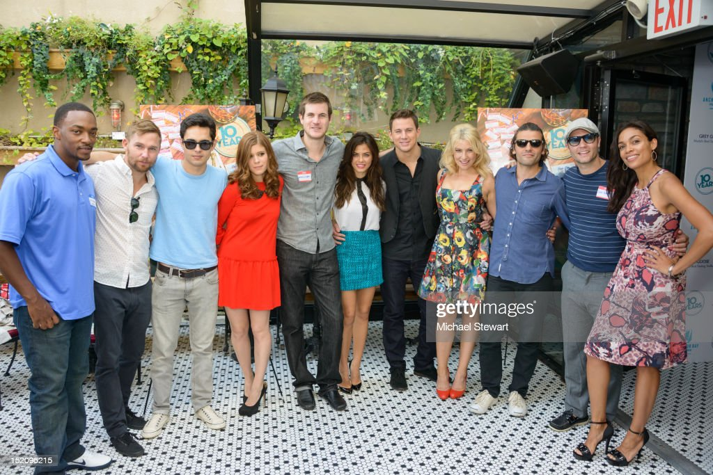 Anthony Mackie, Brian Geraghty, Max Minghella, Kate Mara, Jamie Linden, Jenna Dewan-Tatum, Channing Tatum, Ari Graynor, Oscar Issac, Scott Porter and Rosario Dawson attend '10 Years' New York Brunch Reunion at Hotel Chantelle on September 16, 2012 in New York City.