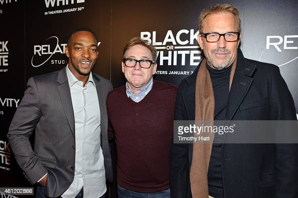 Anthony Mackie director Mike Binder and Kevin Costner attends a screening of 'Black Or White' at Kerasotes Showplace ICON on January 8 2015 in...