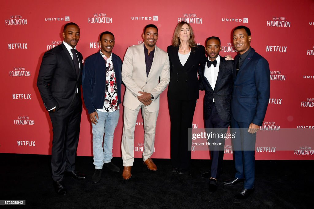 Anthony Mackie, Malcolm David Kelley, Laz Alonso, honoree Kathryn Bigelow, Algee Smith, and Tyler James Williams attend the SAG-AFTRA Foundation Patron of the Artists Awards 2017 at the Wallis Annenberg Center for the Performing Arts on November 9, 2017 in Beverly Hills, California.