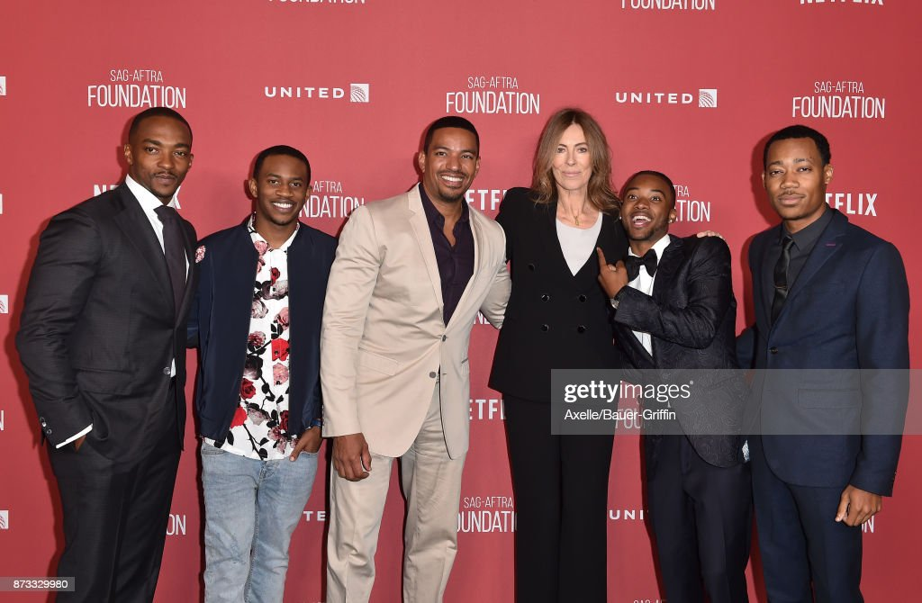 Anthony Mackie, Malcolm David Kelley, Laz Alonso, honoree Kathryn Bigelow, Algee Smith and Tyler James Williams arrive at SAG-AFTRA Foundation Patron of the Artists Awards 2017 on November 9, 2017 in Beverly Hills, California.
