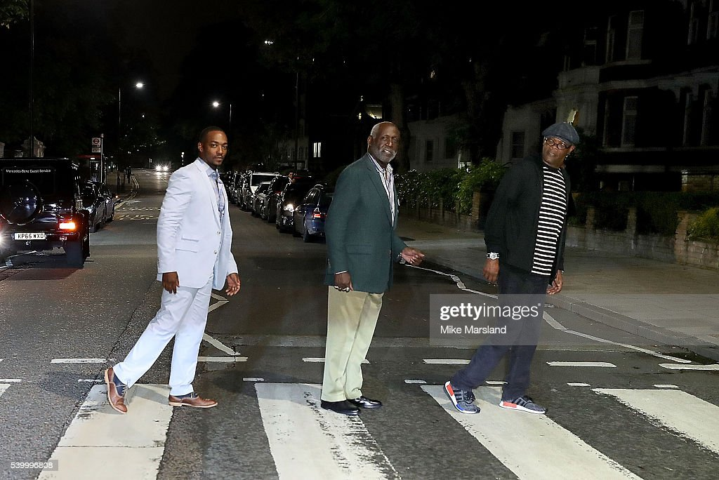 Anthony Mackie, Richard Roundtree and Samuel L. Jackson on the zebra crossing outside Abbey Road Studios, during GQ and One For The Boys with Swatch hosting the London Collections Men closing night karaoke at Abbey Road Studios on June 13, 2016 in London, England.