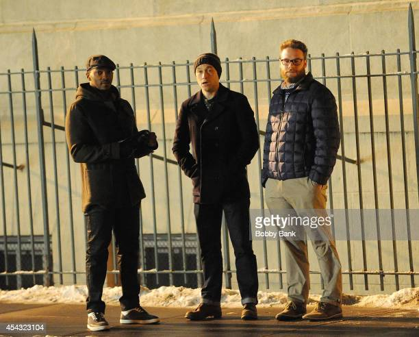 Anthony Mackie Seth Rogen and Joseph GordonLevitt on the set of 'Christmas Project' on August 28 2014 in New York City