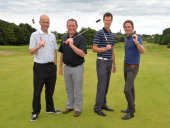 Anthony MacKrell of Playsport Golf with his golf partner Scott Catlin of Greenburn Golf Club and David Broadfoot of Dumfries County Golf Club with...