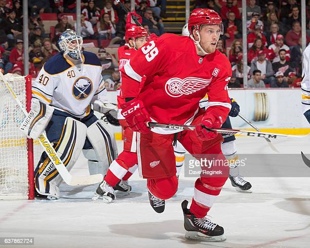 Anthony Mantha of the Detroit Red Wings follows the play during an NHL game against the Buffalo Sabres at Joe Louis Arena on December 27 2016 in...