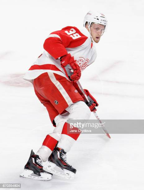 Anthony Mantha of the Detroit Red Wings plays in the game against the Montreal Canadiens at Bell Centre on March 29 2016 in Montreal Quebec Canada