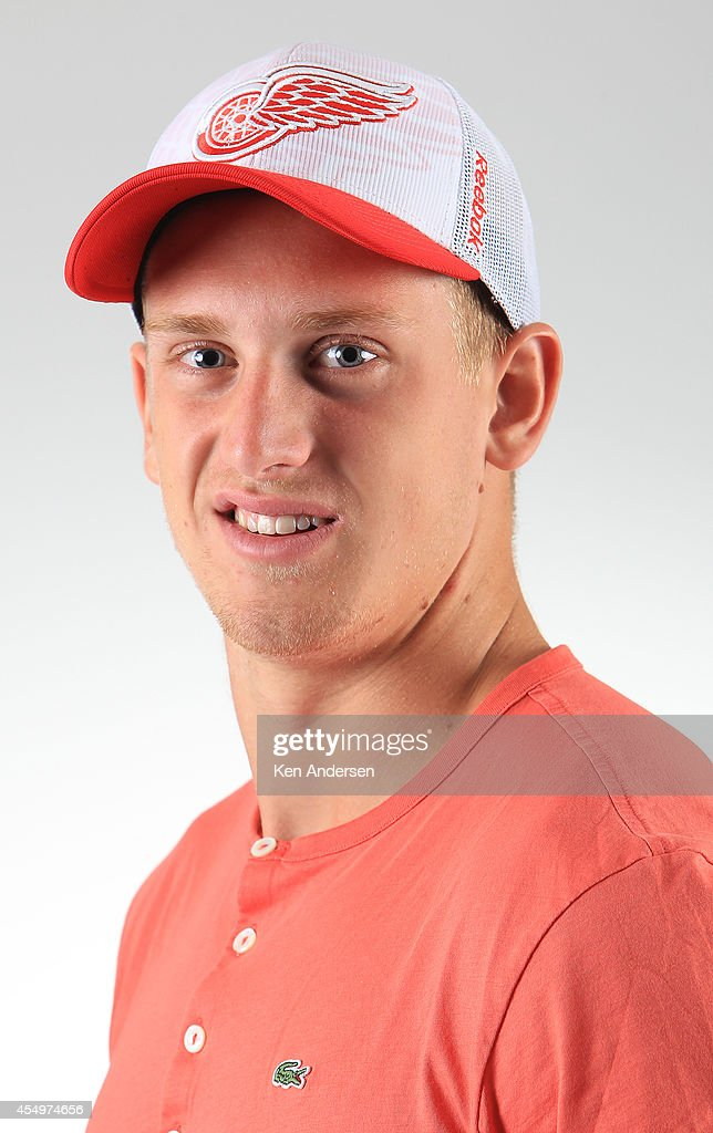 <a gi-track='captionPersonalityLinkClicked' href=/galleries/search?phrase=Anthony+Mantha&family=editorial&specificpeople=10136659 ng-click='$event.stopPropagation()'>Anthony Mantha</a> of the Detroit Red Wings poses for an NHLPA - The Players Collection portrait at the Mattamy Sports Center on August 23, 2014 in Toronto, Ontario, Canada.
