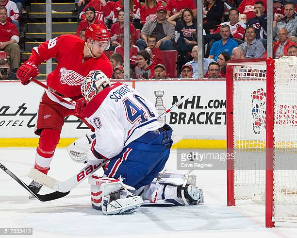 Anthony Mantha of the Detroit Red Wings scores his first NHL goal on Ben Scrivens of the Montreal Canadiens at Joe Louis Arena on March 24 2016 in...