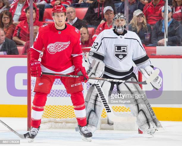 Anthony Mantha of the Detroit Red Wings sets up in front of Jonathan Quick of the Los Angeles Kings during an NHL game at Little Caesars Arena on...