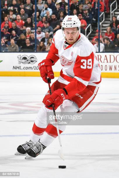 Anthony Mantha of the Detroit Red Wings skates against the Columbus Blue Jackets on February 11 2017 at Nationwide Arena in Columbus Ohio