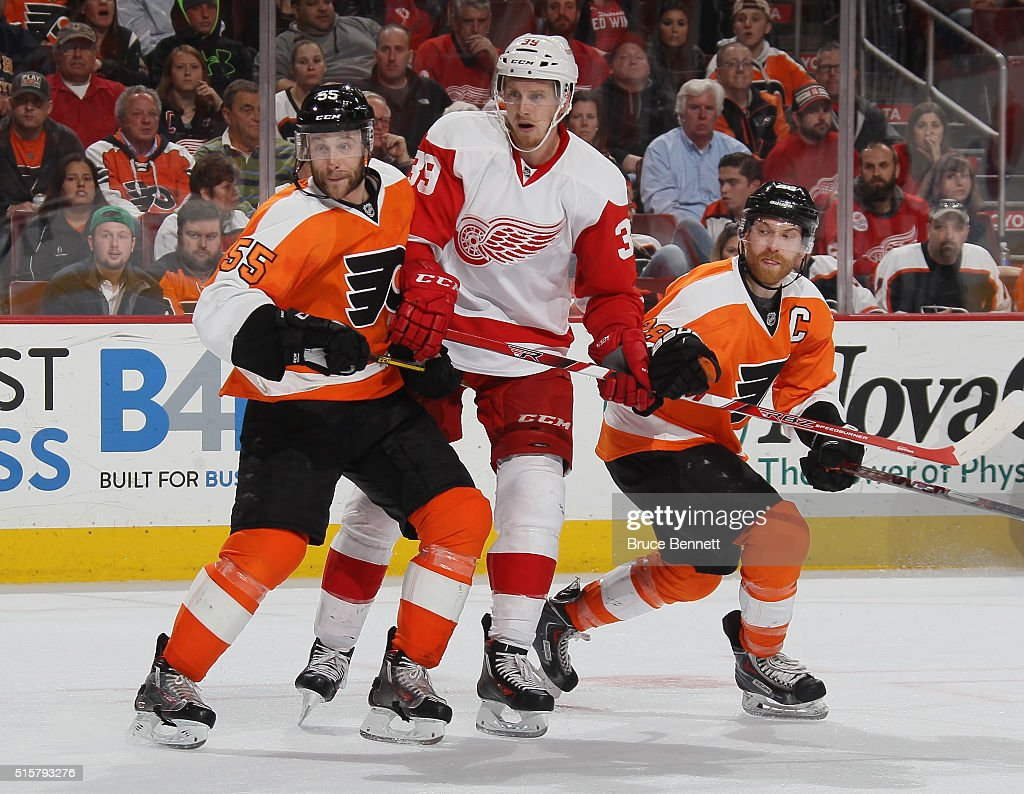 Anthony Mantha #39 of the Detroit Red Wings skates in his first NHL game against Nick Schultz #55 and Claude Giroux #28 of the Philadelphia Flyers at the Wells Fargo Center on March 15, 2016 in Philadelphia, Pennsylvania. The Flyers defeated the Red Wings 4-3.