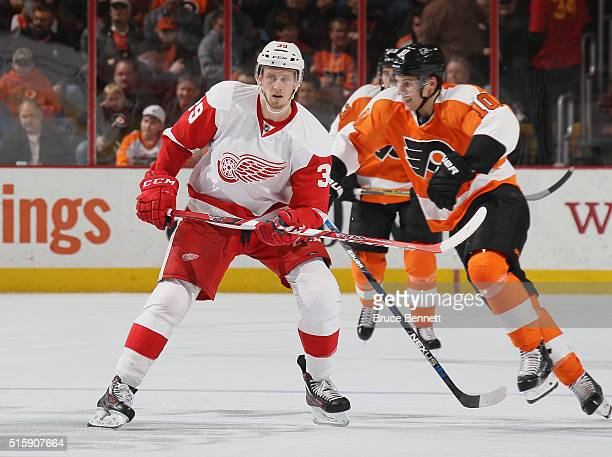 Anthony Mantha of the Detroit Red Wings skates in his first NHL game against the Philadelphia Flyers on March 15 2016 in Philadelphia Pennsylvania...