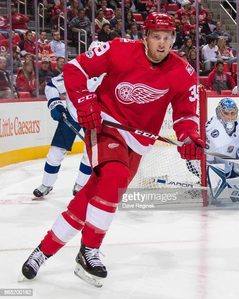 Anthony Mantha of the Detroit Red Wings turns up ice against the Tampa Bay Lightning during an NHL game at Little Caesars Arena on October 16 2017 in...
