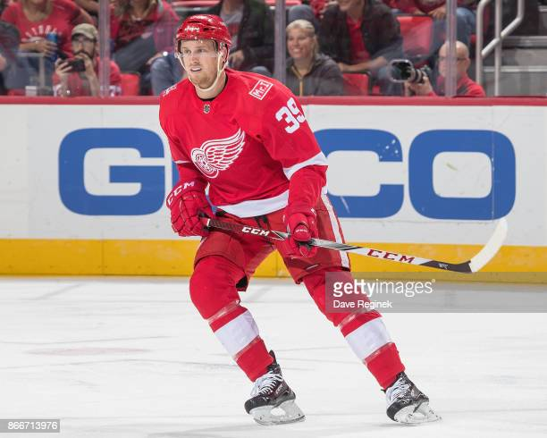 Anthony Mantha of the Detroit Red Wings turns up ice against the Washington Capitals during an NHL game at Little Caesars Arena on October 20 2017 in...