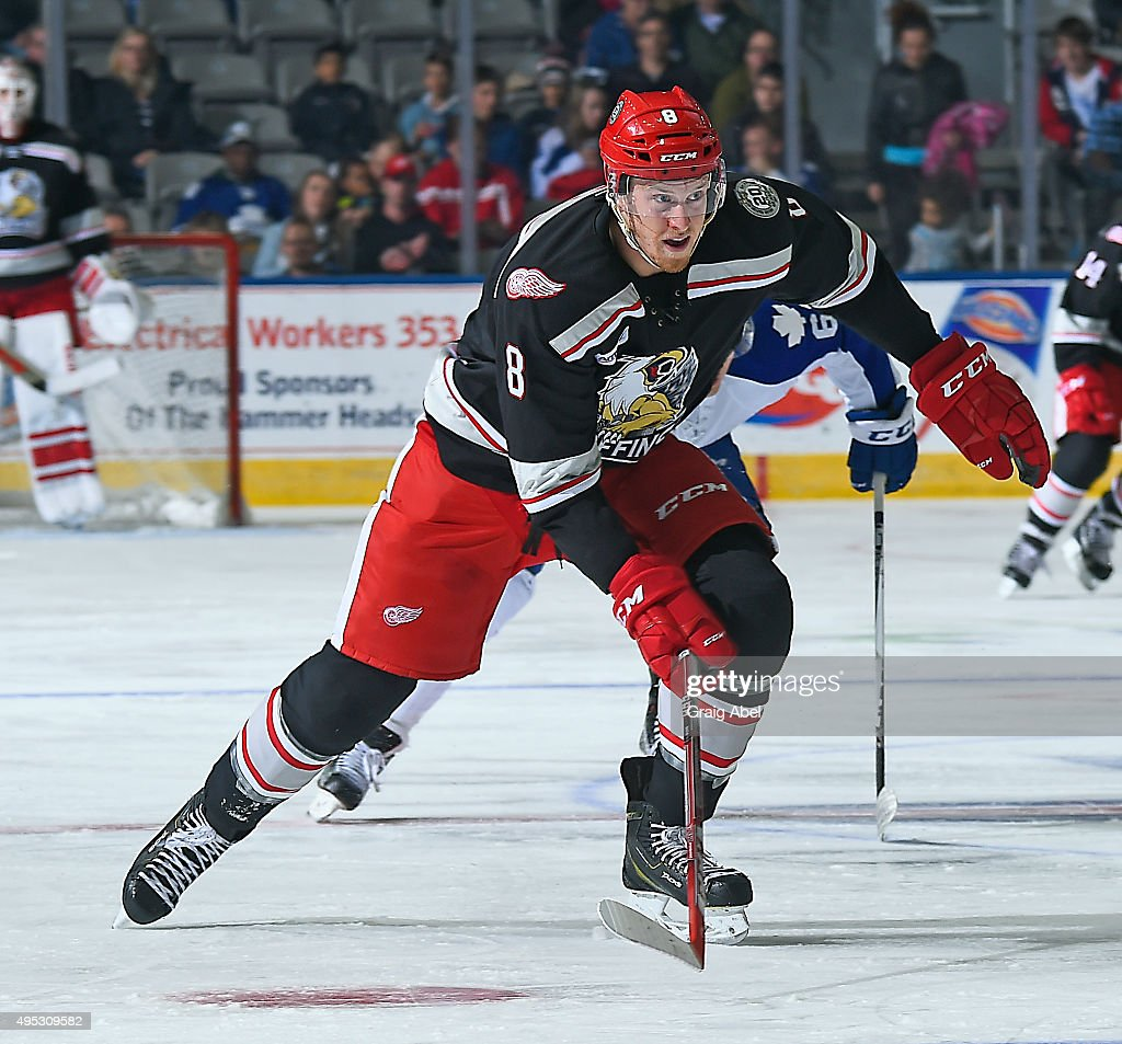 <a gi-track='captionPersonalityLinkClicked' href=/galleries/search?phrase=Anthony+Mantha&family=editorial&specificpeople=10136659 ng-click='$event.stopPropagation()'>Anthony Mantha</a> #8 of the Grand Rapids Griffins skates up ice against the Toronto Marlies during AHL game action on October 30, 2015 at Ricoh Coliseum in Toronto, Ontario, Canada.