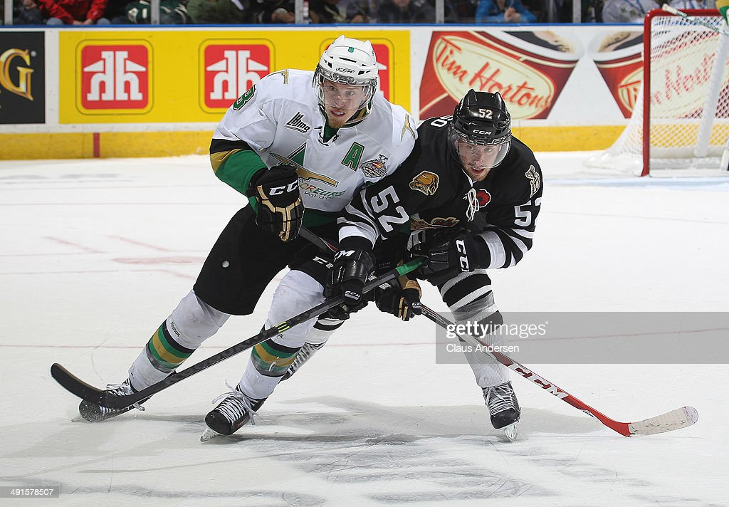 Anthony Mantha #8 of the Val'Dor Foreurs skates against Alex Basso #52 of the London Knights in Game One of the 2014 Mastercard Memorial Cup at the Budweiser Gardens on May 16, 2014 in London, Ontario, Canada. The Foreurs defeated the Knights 1-0.
