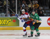 Anthony Mantha of the Val'Dor Foreurs skates against Curtis Lazar of the Edmonton Oil Kings in Game Five of the 2014 MasterCard Memorial Cup at...
