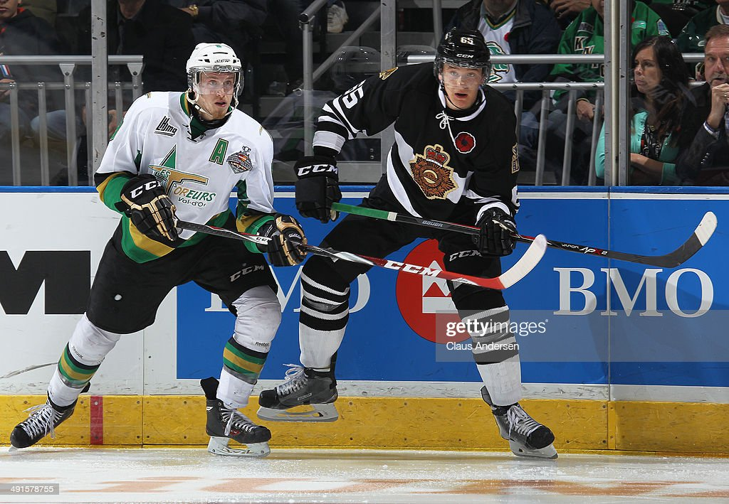 Anthony Mantha #8 of the Val'Dor Foreurs skates against Nikita Zadorov #65 of the London Knights in Game One of the 2014 Mastercard Memorial Cup at the Budweiser Gardens on May 16, 2014 in London, Ontario, Canada. The Foreurs defeated the Knights 1-0.