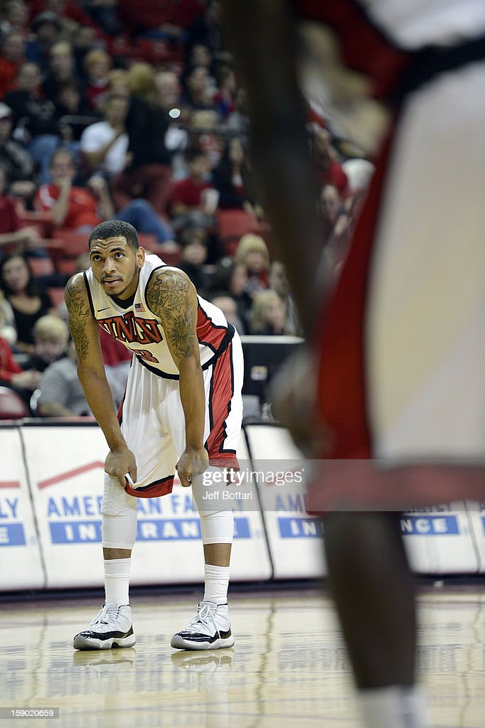 Anthony Marshall #3 of the UNLV Rebels looks to the scoreboard during the game against the CSU Bakersfield Roadrunners at the Thomas & Mack Center on January 5, 2013 in Las Vegas, Nevada. UNLV won 84-63.