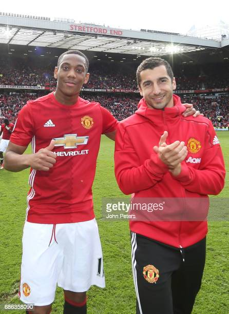 Anthony Martial and Henrikh Mkhitaryan of Manchester United pose after the Premier League match between Manchester United and Crystal Palace at Old...