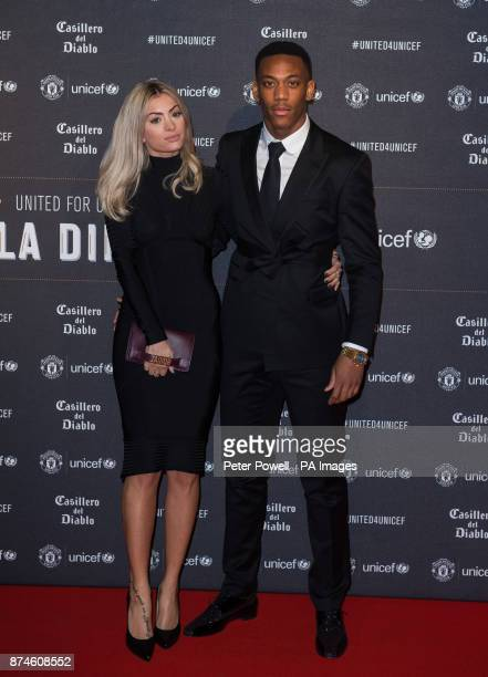 Anthony Martial and Melanie Da Cruz attend a gala dinner at Old Trafford in Manchester held by Manchester United and Unicef to raise funds for the...