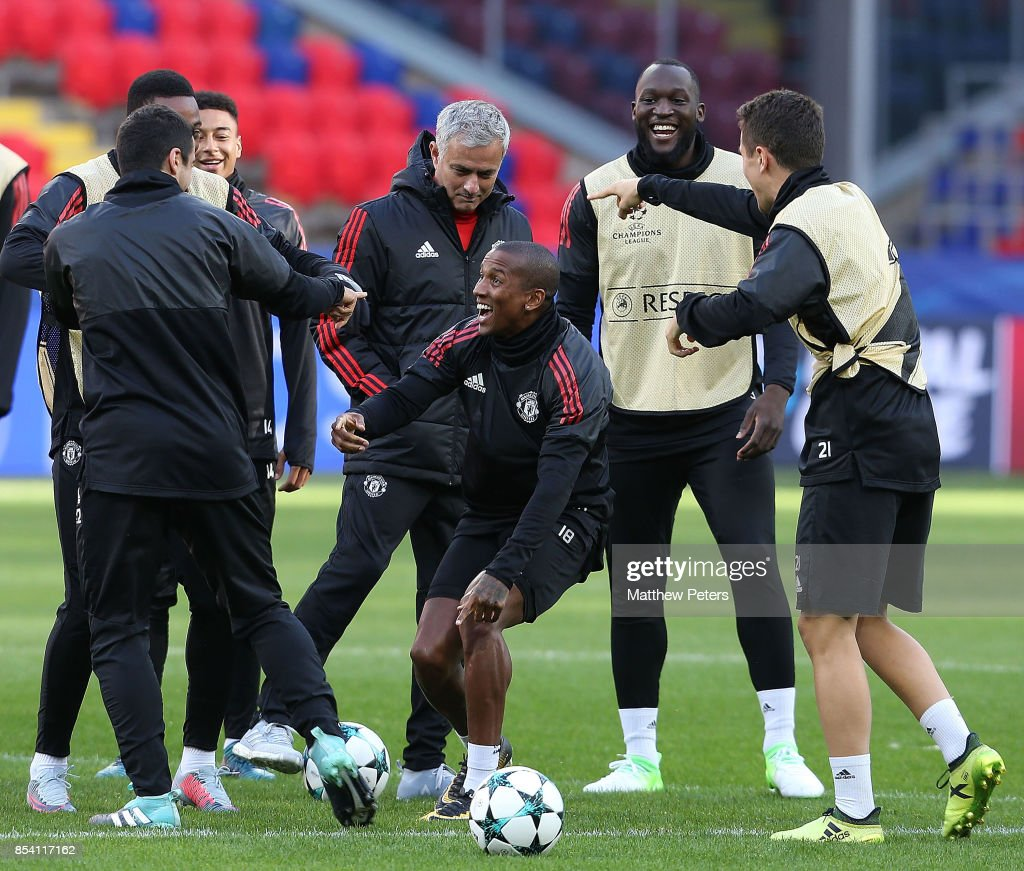 Anthony Martial, Ashley Young, Romelu Lukaku and Ander Herrera of Manchester United in action during a training session ahead of their UEFA Champions League match against CSKA Moscow at VEB Arena on September 26, 2017 in Moscow, Russia.