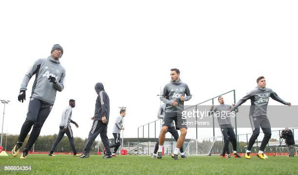 Anthony Martial Matteo Darmian and Victor Lindelof of Manchester United in action during a first team training session at Aon Training Complex on...
