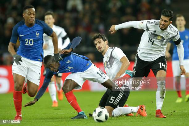 Anthony Martial of France Blaise Matuidi of France Mats Hummels of Germany Emre Can of Germany during the International Friendly match between...