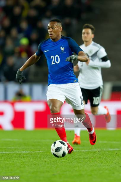 Anthony Martial of France controls the ball during the International friendly match between Germany and France at RheinEnergieStadion on November 14...