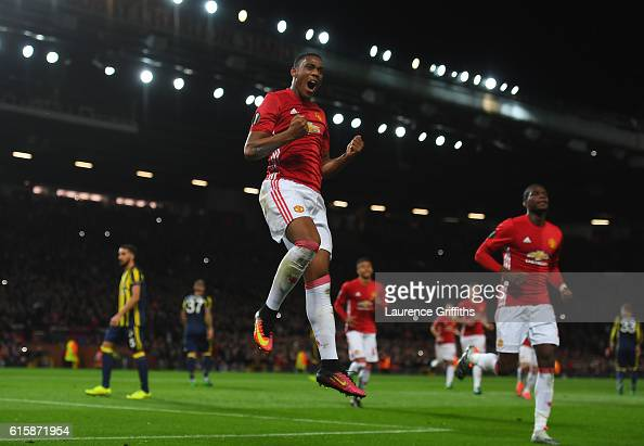 Anthony Martial of Manchester United after scoring his team's second goal from the penalty spot during the UEFA Europa League Group A match between...