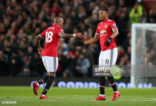 Anthony Martial of Manchester United and Ashley Young of Manchester United celebrates after Anthony Martial scores his sides first goal during the...