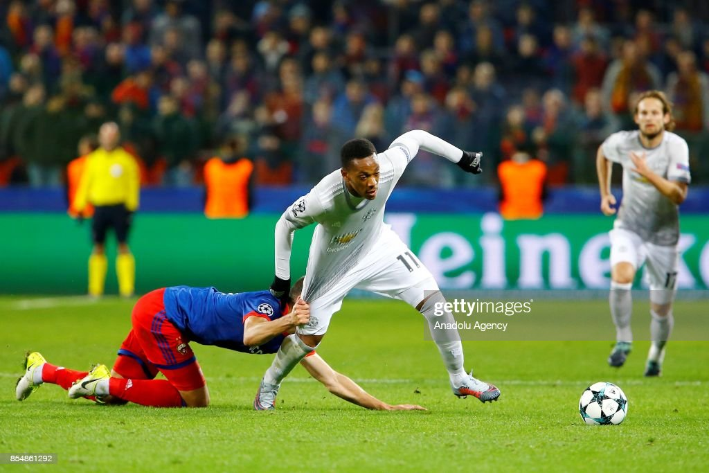 Anthony Martial (R) of Manchester United and player of CSKA Moscow in action during the UEFA Champions League match between CSKA Moscow and Manchester United at VEB Arena in Moscow, Russia on September 27, 2017.