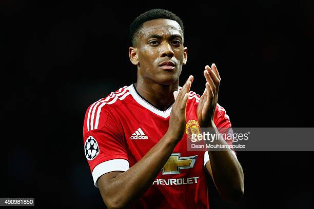 Anthony Martial of Manchester United applauds the crowd after victory in the UEFA Champions League Group B match between Manchester United FC and VfL...