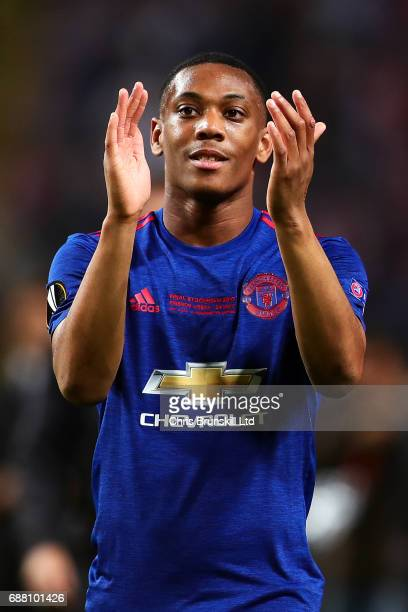 Anthony Martial of Manchester United applauds the supporters following the UEFA Europa League Final match between Ajax and Manchester United at...