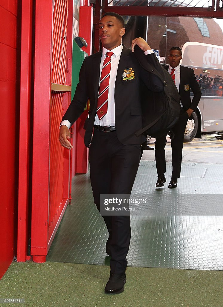 Anthony Martial of Manchester United arrives at Old Trafford ahead of the Barclays Premier League match between Manchester United and Leicester City at Old Trafford on May 1, 2016 in Manchester, England.