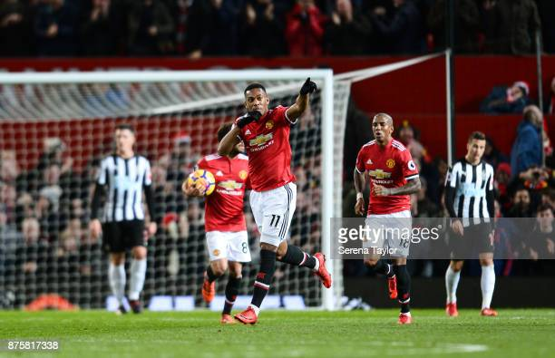 Anthony Martial of Manchester United celebrates after he scores the equalising goal during the Premier League match between Manchester United and...